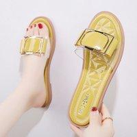 Chinelos femininos de verão Moda All-Match 2021 Senhoras Beach Shoes Ins Tide Net Vermelho Sandálias Plana Tamanho 35-40
