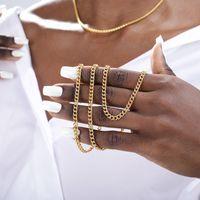 Colar de aço inoxidável punk para homens mulheres hone freio cubano 4mm largura link cadeia chainers ouro tone metal gravata jóias presente y0309