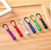 6 Colors Portable LED Flashlight Key Chain Aluminum Alloy Torch Flashlights With Carabiner Ring Keyrings Gifts dd036