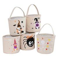 Halloween-Eimer DIY Canvas Candy Tote Bag Partei liefert wiederverwendbare Aufbewahrungstaschen Kürbis Handtasche HH21-414