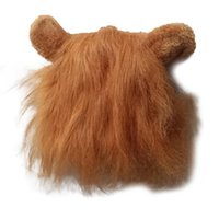 Cat Costumes Pet Dog Emulation Lion Hair Mane Ears Head Cap Autumn Winter Dress Up Costume Muffler Scarf