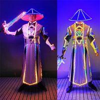 Party Dekoration Q22 Bunte LED Light Dance Kostüme DJ Cosplay Wears Jacke Kongfu Performance Roboter Männer Anzug Bar Leuchtende Kleidung
