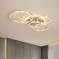 현대 천장 조명 거실 원형 골드 브라운 LED Plafon 장식 침실 램프 원격 제어 광택과 고정 장치