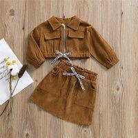Clothing Sets Autumn Winter Kids Girl Warm Corduroy Set Long Sleeve Zipper Jacket Coat Bow Elastic Waist Skirt Khaki Baby 2021