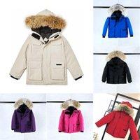 유아 디자이너 겨울 재킷 fourrure 다운 코트 파카 소년 소녀 겉옷 파카 회색 거위 따뜻한 늑대 모피 windproof manteau 키즈 아동 CA 재킷 Doudoune