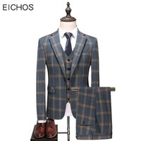 Brand Suits Men Classic Check Suit Casual Formal Three Pieces Slim Groom For Wedding Dress Party Plus Size 5XL Men's & Blazers