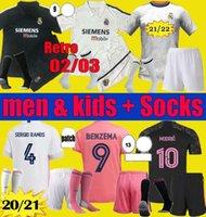 Hommes Kids 20 21 22 Real Madrid Soccer Jersey Benzema 2021 2022 Hazard Asensio Sergio Ramos Kits MoDRic Retro 02 03 Chemises de football Zidane Set d'uniformes