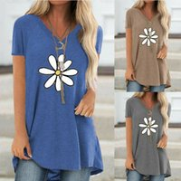 Womens Summer Casual Printed Short Sleeve V Neck Pullover Loose T-Shirts Tops