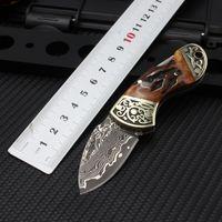 Tunafire Damascus Steel Folding blade Pocket Knife Camping Tactics Survival Mini knives EDC Tools