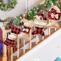 Forme de poisson mignon chaussette Sacs de Noël Bas de Noël sacs de cadeau de bonbons Sac de bonbons Ornement d'arbre d'arbre de Noël Décoration de la fête de la fête Prop chaussettes FWB8127