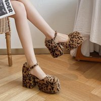Dress Shoes Furry Fur Platform Pumps Womens Round Toe Leopard Mixed Colors Block High Heel Lolita Cosplay Halloween Real Leather 2021
