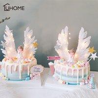 Angel Wings Drapeau Strot Strot Light Angel Bougie De Mariage Cuisson Cuisson Topper Ensemble pour Drapeaux d'anniversaire de fête Drapeaux Drapeaux Cuisson
