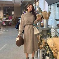 woollen sweater korean ladies Winter warm turtleneck knitted Sexy Long Maxi Party Dress for women clothing plus size 210602