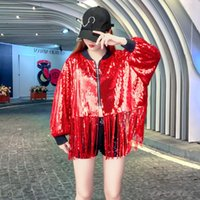Women's Jackets 2021 Spring Stage Wear Performance Style Brand Industrial Sequin Long-Sleeved Coat Loose-Fit Tassels Clothes