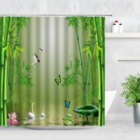 Green Bamboo Shower Curtain Set Swans Lake Pink Lotus Leaf Butterfly Spring Scenery Waterproof Home Bathroom Decor Bath Curtains