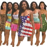 Plus Size Fashion Dress Summer Strifed National Bandiera Star Stampa Star Star Sexy Gonna Casual Tuta Miniskirt senza maniche Senza maniche Abiti G55EM3N