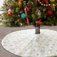 Christmas Decorations 48-inch Tree Skirt Plush Print Round Artificial Carpet Colored Golden Snowflake Wedding