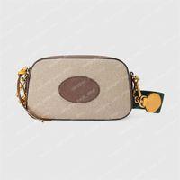 حقيبة كروسبودي خمر رسول حقائب الإناث حقيبة كاميرا نمط محفظة الفاخرة البيج قماش حقائب جلدية مخلب الأزياء الصليب الجسم حقيبة الكتف 476466