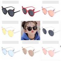 Miúdos Óculos de sol adorável orelha de urso redondo quadro de sunglass festa favor transparente desenhos animados óculos de sol crianças praia Eyewear Kid DHC7089