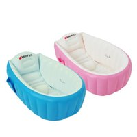 Bathing Tubs & Seats 2021 Fashion Portable Baby Bathtub Inflatable Bath Tub Children Cushion Foot Air Pump Warm Winner Home Folding Free Gif