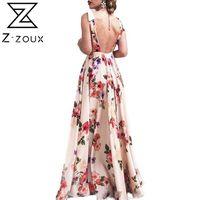 Casual Dresses Z-zoux Women Dress V-neck Sleeveless Bohemian For Plus Size Long Vintage Flowers Beach Summer 2021 Fashion