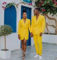 Men's Suits & Blazers Fashion Yellow Men One Button Shawl Lapel Wedding Slim Fit Blazer Tuxedo Terno Masculino Prom Groom Custom Made 2 Piec