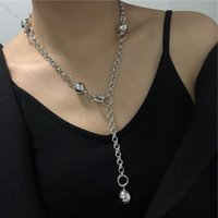 Gothic Punk INS Gold Ball Necklace Egirls Grunge Hip Hop Long Chain Necklace For Women Men Party Club Jewelry Gifts