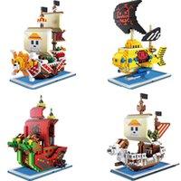 Micro Brick One Piece Pirates Four Change Block Установленные веселые тысячи солнечных юридических листок змеиной подводной лодки для детей Q0723