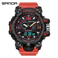 Sanda 스포츠 시계 듀얼 타임 남성 시계 방수 남성 시계 군사 시계 충격 Resisitant 아날로그 자동 시계 선물 X0524