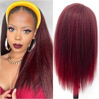Synthetic Wigs Kinky Wine Red Straight For Women Headband Wig Long Hair Natural Black Head Band Beauty Daily Wear
