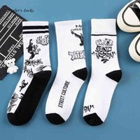 New Fashion Street Culture Men and Women Socks Cotton White Black Graffiti Harajuku HipHop Skateboard Sport Funny Happy Sockings