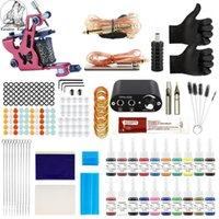 Kit tatuaggio 20 colori inchiostri 8 wrap bobine macchine impugnature aghi alimentatore per accessori per principianti set1