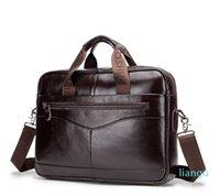 Men Briefcase Vintage Genuine Leather Handbags Business Travel Laptop Bags Large Portfolios Messenger Crossbody Bags