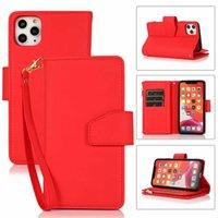 Capas Telefone celular Conjuntos Adequado para iPhone 12 Promax Leather Zipper Capa Carteira 9-Card 2-em-1 Cortete multi-função Protetora