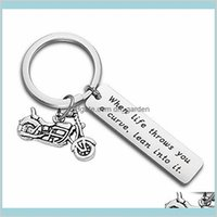 Rings Jewelry Drop Delivery 2021 Stainless Steel Letter Tag With Motorcycle Keychain Keyring Holders Lovers Key Chain For Women Men Fashion W