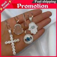 "Chokers 16""+4"" Box Chain Fashion European Women Jewelry Micro Paved Cz Cross Evil Eye Hamsa Hand Pendant Necklace"