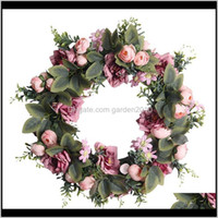 Decorative Flowers Wreaths Festive Supplies & Gardenartificial Camellia And Roses For Front Door Window Wall Party Wedding Venue Layout Prop