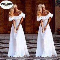 Summer Female Casual Dress Sexy Slash Neck Off Shoulder Ruffles White Long Maxi Women Party Club Dresses