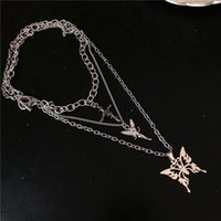 Kpop Gothic Harajuku Multi-layer Angel Cross Rose Butterfly Pendant Chains Necklace For Egirl Women Men Punk Aesthetic Jewelry