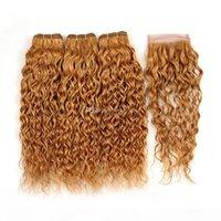 Çilek Sarışın Renk Saç Dantel Kapatma Ile Su Dalga İnsan Saç Atkı Uzatma Dantel Kapatma Ile Islak Dalgalı 3 Paketler