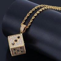 Pendentif Colliers Full + Zircon SLING OUT Dessin animé Colomby Dice Couleur Couleur Happer Hip Hop Rapper bijoux goutte