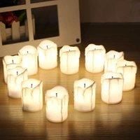 Halloween LED-Kerzen Flammenlosen Timer Kerze Teelichter Batteriebetriebene elektrische Lichter flackern Teelicht für Hochzeit Geburtstag 12pcs / set