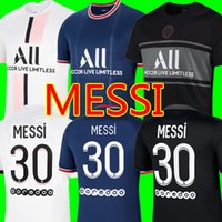 21 22 Messi PSG Futebol Jerseys Mbappe Wijnaldum Hakimi Sergio Ramos 2021 2022 Terceiro Maillots Top Camisa de Futebol Neymar Men + Kid Kit uniformes Enfants Maillot de pé
