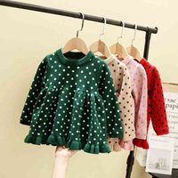 Baby Peuter Girls Sweaters Dress Xmas Stitches Dress With Long Mouths Herfst Winter Ruches Dress New Year Outfit 210506