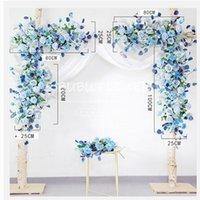 الزهور الزهور أكاليل مخصص الدعائم الزفاف القوس خلفية حزب الحدث ديكور الاصطناعي زهرة صف الحرير الأزرق الأبيض في الحديقة وهمية
