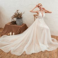 Vestidos de casamento sexy vestidos nupciais rendas appliqued cristal superior saia forma elegante