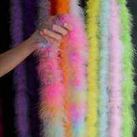 Party Decoration Colored Feather Strips Diameter 8-10CM 2Meter/Lot Fluffy Turkey Feathers Boa Black White Feather for Crafts Boas Strip Carn
