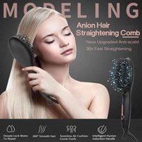 Alisador de cabelo pente rápido aquecido escova de cabelo alisador profissional endireitando o ferro para o ferro do cabelo de viagem