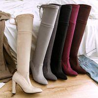 Botas 2021 más tamaño 33-46 mujeres fetiche sobre el bloque de rodilla 10 cm tacones altos tacones largos botines de muslo borgoña caliente invierno Rusia zapatos