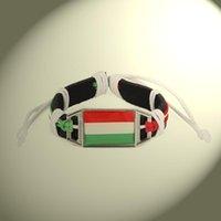 Encanto Pulseras Hungría Swiss Austria Polonia Perú Turquía Bandera Encantos Pulsera de cuero genuino Brazaletes Mano trenzado Joyería cortical